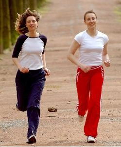 Girls Jogging Comfortably with Athletic Shoes